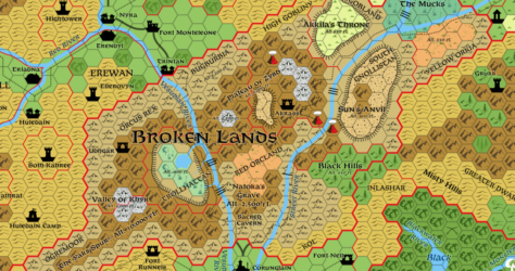 Broken Lands, 8 miles per hex