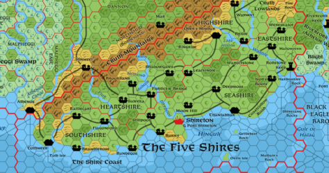 Five Shires, 8 miles per hex