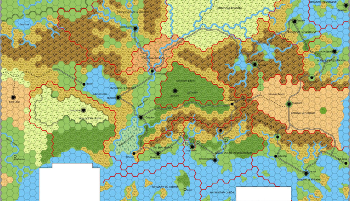 ? mile per hex map of the D&D Known World in AC 1000.