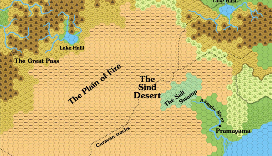 Map of the Great Waste.  Replica of the map in X4 Master of the Desert Nomads.